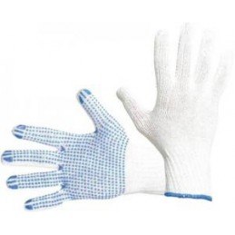 Knitted gloves with PVC...